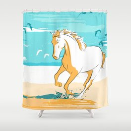 beach horse yellow Shower Curtain