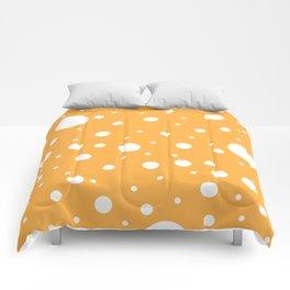 Mixed Polka Dots - White on Pastel Orange Comforters
