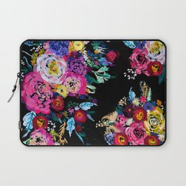 Colorful Floral Painting on Black Canvas. Laptop Sleeve