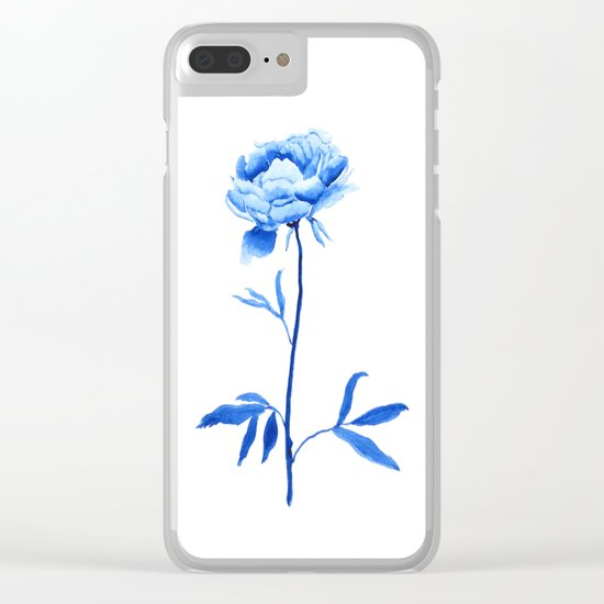 one blue peony painting Clear iPhone Case