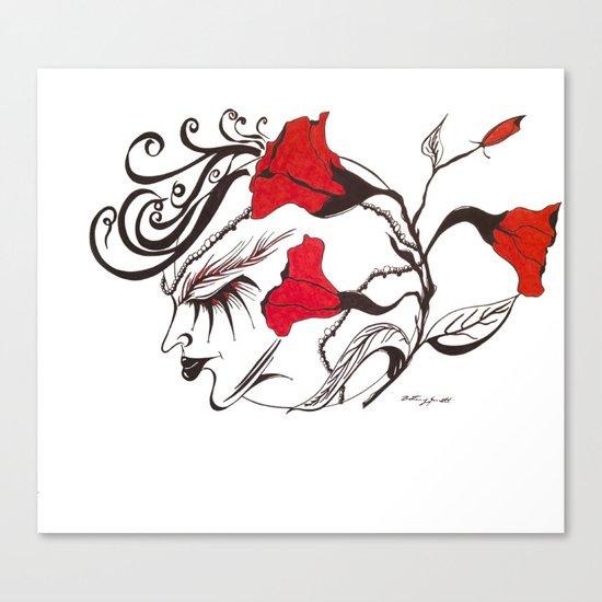 A Flowered Face Canvas Print