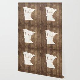 Minnesota is Home - White on Wood Wallpaper