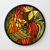 rooster Wall Clocks featuring Rooster by Cat Thurman