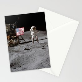 Astronaut John Young leaps from lunar surface to salute flag Stationery Cards