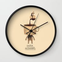 good morning Wall Clocks featuring good morning. by Louis Roskosch