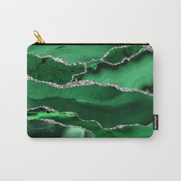 Glamour Emerald Bohemian Watercolor Marble With Silver Glitter Veins Carry-All Pouch