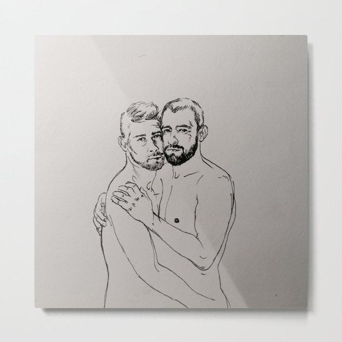 Gay Couplr Hug Metal Print