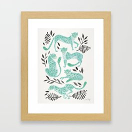 Cheetah Collection – Mint & Black Palette Framed Art Print