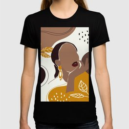 African American Art, Leaf Girl Print, Black Woman Wall Art, Black Girl Print, Fashion Print T-shirt