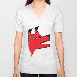 Red Origami Dog Unisex V-Neck