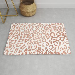 Modern Hipster Girly Faux Rose Gold Foil Leopard Animal Print Rug
