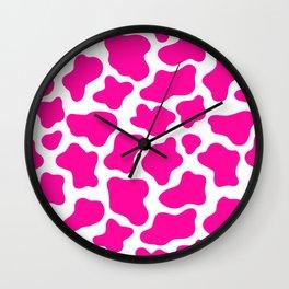 Neon Pink Cow Print Wall Clock