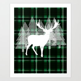 Green Plaid with Deer: Holiday Print Art Print