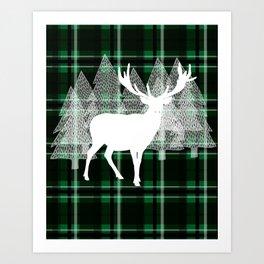 Green Plaid with Deer: Holiday Print Art Print