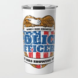 Patriotic Police Officers American Flag Travel Mug
