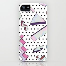 Memphis style holographic pattern iPhone Case