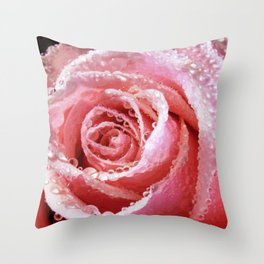 Pink Rose Dewdrops Floral Vector Art Throw Pillow