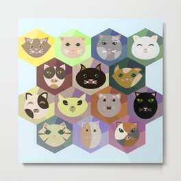 Set of different cats Metal Print