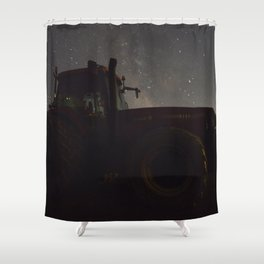 Tractor with the Night Sky Shower Curtain
