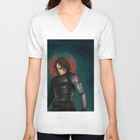 winter soldier V-neck T-shirts featuring Winter Soldier by toibi