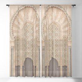 Door of Hassan II Mosque in Casablanca Morocco Sheer Curtain