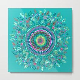 leafy Turquoise Mandala Metal Print