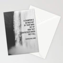 Serena Williams: A champion is defined not by their wins but by how they can recover when they fall. Stationery Cards