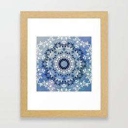 MAGICAL BLUE AND WHITE FLORAL MANDALA Framed Art Print