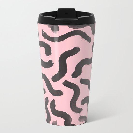 Paint Strokes - Black On Pink Metal Travel Mug