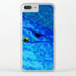 Swimming with whale painting print Clear iPhone Case