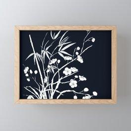 bamboo and plum flower white on black Framed Mini Art Print