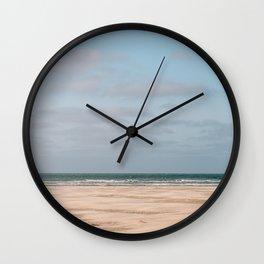 Minimalist beach photo digital art print    Ocean coast sea modern abstract surf    Soft color wanderlust travel photography from Europe  Wall Clock