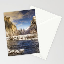 Yosemite Winter Valley View Stationery Cards