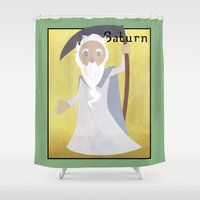 saturn Shower Curtains featuring Saturn  by LostReach