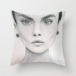 portrait of Cara Delevigne Throw Pillow