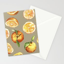 Watercolor fresh oranges pattern Stationery Cards