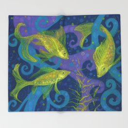 Golden Fishes, Blue &Yellow Throw Blanket