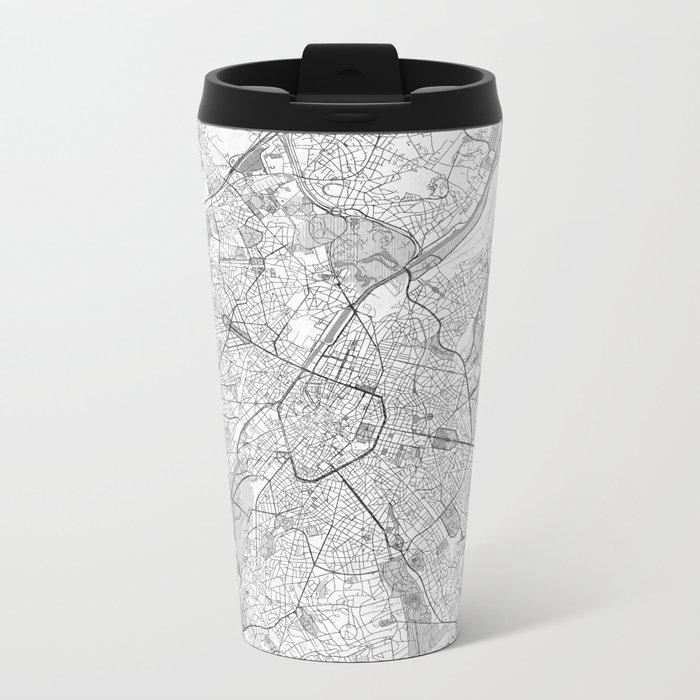 Brussels Map Line Metal Travel Mug