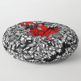Red sleep with white flowers Floor Pillow