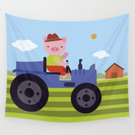 Pig on Tractor Wall Tapestry