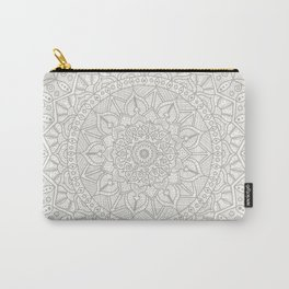 Gray Circle of Life Mandala on White Carry-All Pouch
