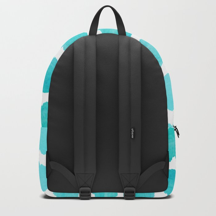 Maritime pattern- Simply aqua handpainted stripes on clear white- horizontal Backpack