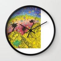 oasis Wall Clocks featuring OASIS by Sophia Wexler