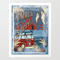 Retro kite surf illustration,Summer is here slogan, vintage, Vektor Vintage Bus ,llustration, concep Art Print