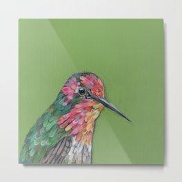 Green background Annas Hummingbird Metal Print