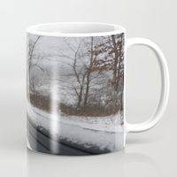 rileigh smirl Mugs featuring Snowy Rail by Rileigh Smirl