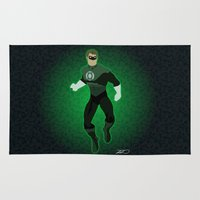 green lantern Area & Throw Rugs featuring Green Lantern by The Vector Studio