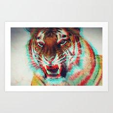 Abstract Techno Tiger Art Print