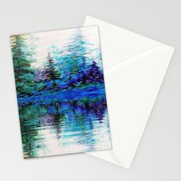 SCENIC BLUE MOUNTAIN PINES LAKE REFLECTION Stationery Cards