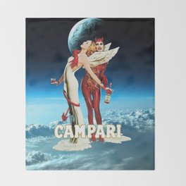 Classic Campari Alcoholic Angel & Devil - Earth, Sun, and Stars Aperitif Advertising Vintage Poster Throw Blanket